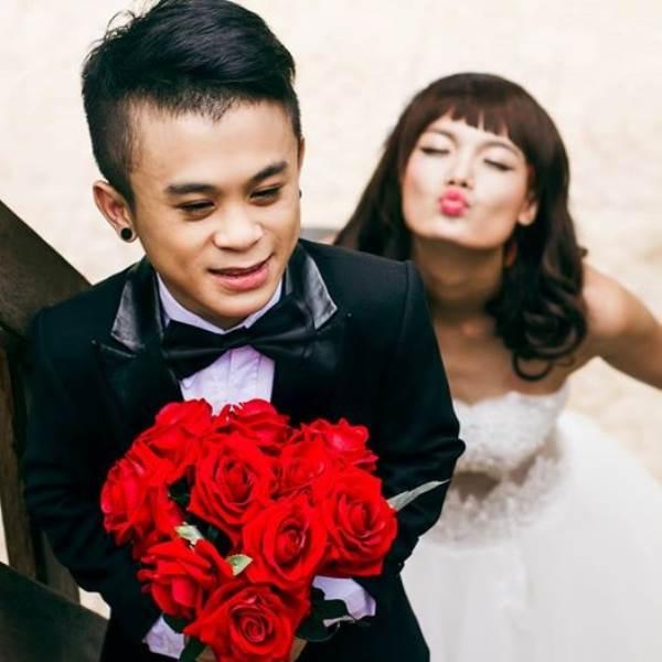 Ảnh cưới lãng mạn của chú lùn Xuân Tiến và bạn gái người mẫu 1.75m trước khi chia tay - Ảnh 1