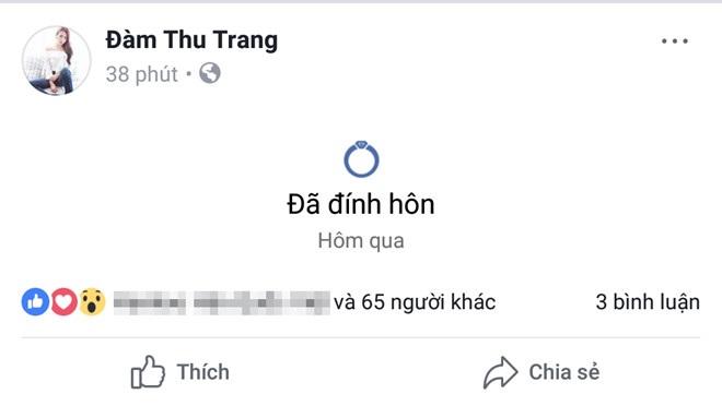 Cường Đô La thông báo 'đã đính hôn' với Đàm Thu Trang trên Facebook