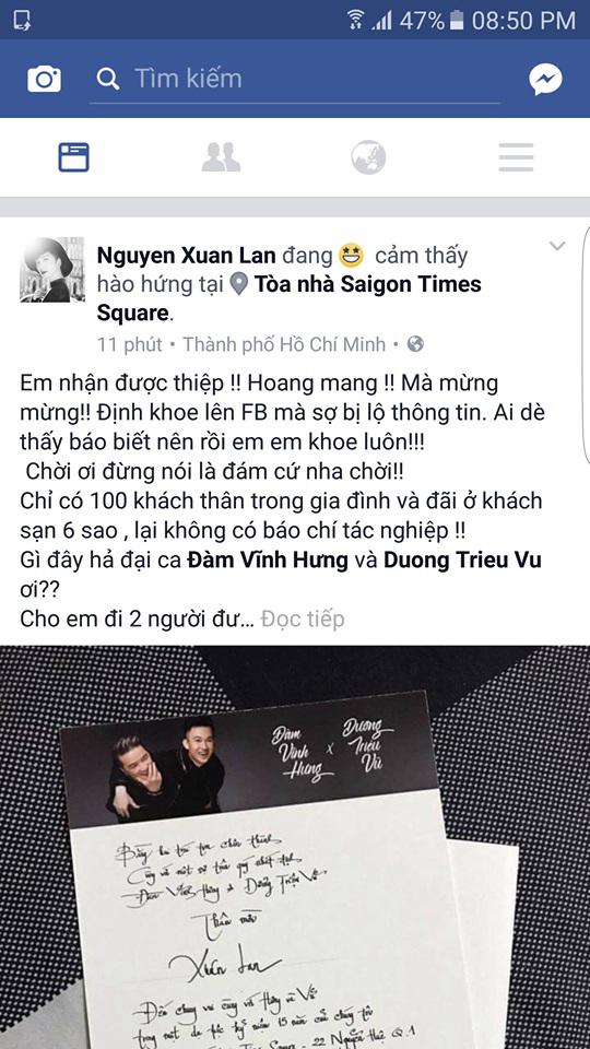 Siêu mẫu Xuân Lan gây xôn xao khi khoe 'thiệp cưới' của Đàm Vĩnh Hưng và Dương Triệu Vũ - Ảnh 3