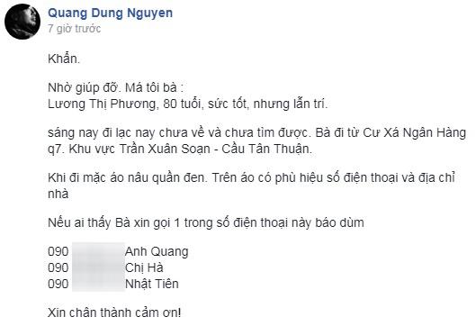 Hốt hoảng cầu cứu cộng đồng mạng, đạo diễn Nguyễn Quang Dũng nghẹn ngào hạnh phúc khi tìm được mẹ 80 tuổi thất lạc - Ảnh 1