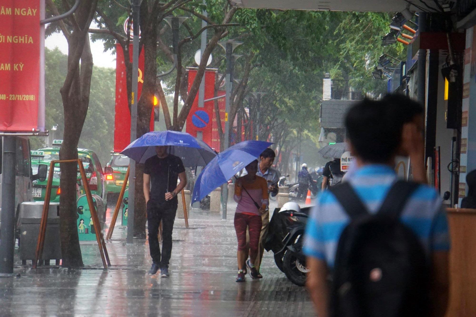 Sài Gòn mưa như trút nước, du khách thoải mái dạo mưa chụp ảnh - Ảnh 8