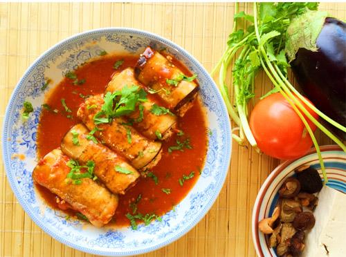 Cà tím cuộn đậu phụ nấm sốt cà chua - Ảnh 3