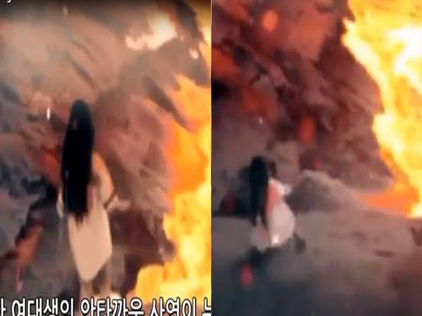 Đứng tim clip cô gái bị trượt chân rơi xuống biển dung nham đỏ rực - Ảnh 1