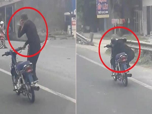 Nam thanh niên gây náo loạn trên đường khi vừa lái xe bằng một tay vừa 'diễn xiếc' - Ảnh 1