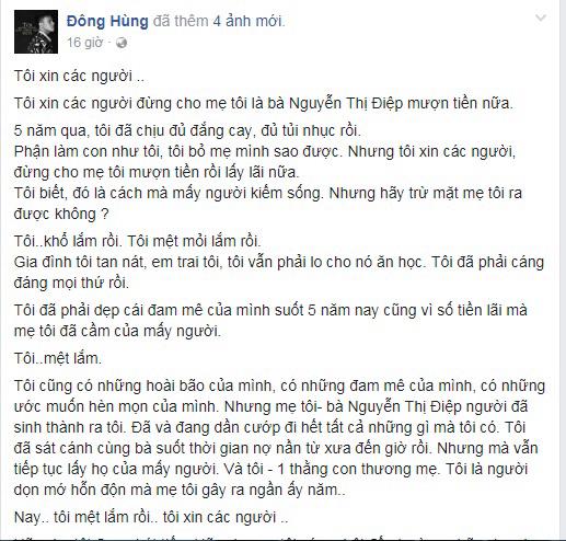Sau khi bị chủ nợ của mẹ vây chém, hành động của Top 3 Vietnam Idol 2014 Đông Hùng khiến nhiều người chua xót - Ảnh 1