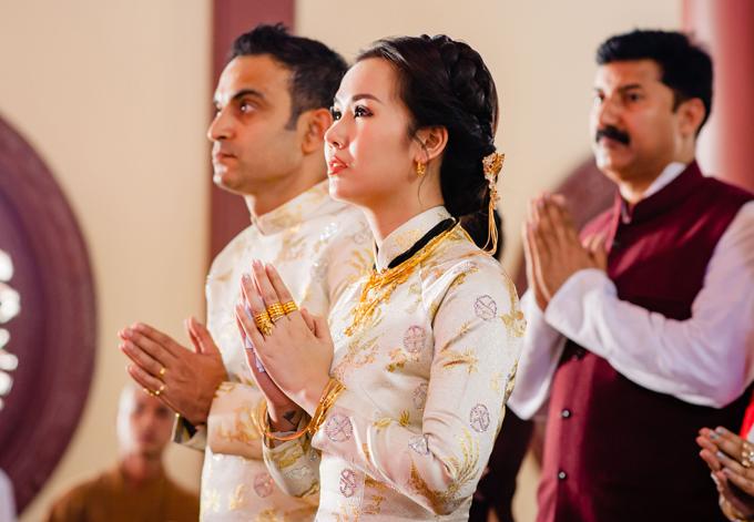 'Lóa mắt' nhìn Võ Hạ Trâm đeo vàng nặng trĩu trong hôn lễ cùng chồng doanh nhân Ấn Độ - Ảnh 7