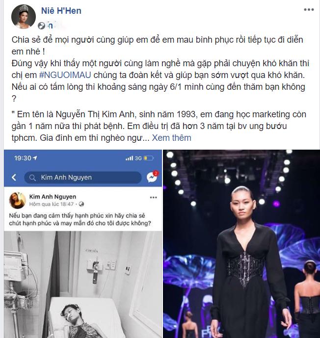 H'Hen Niê và các mỹ nhân Việt kêu gọi giúp đỡ  người mẫu trẻ bị ung thư - Ảnh 2