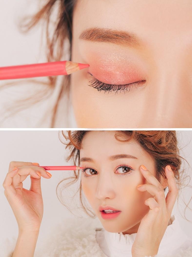 Sử dụng son môi làm phấn mắttạo được hiệu ứng cho đôi mắt thêm phần lung ling và tự nhiên