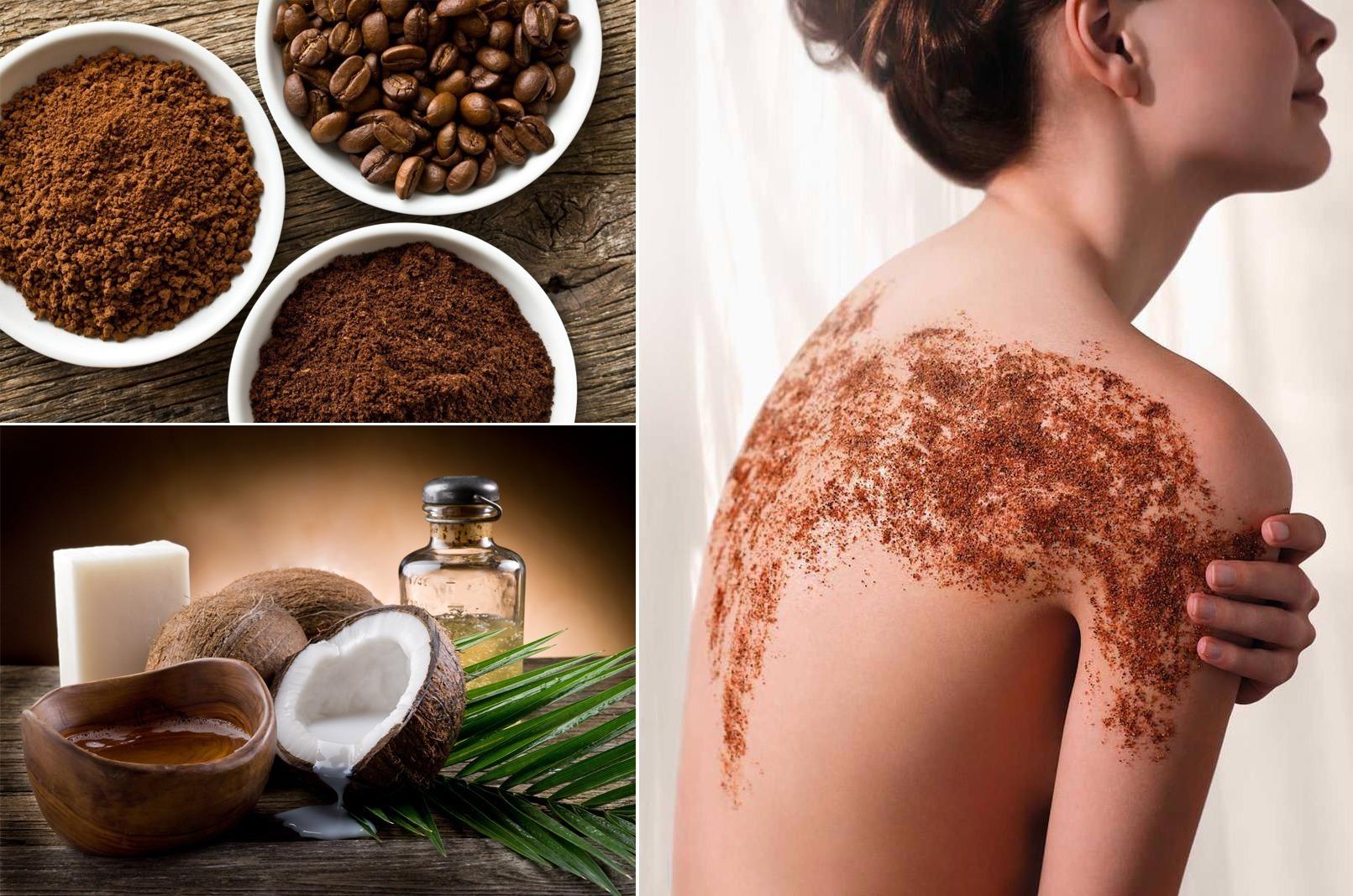 Tẩy da chết bằng bã cà phê và dầu dừa giúp làn da mịn màng, trắng hồng