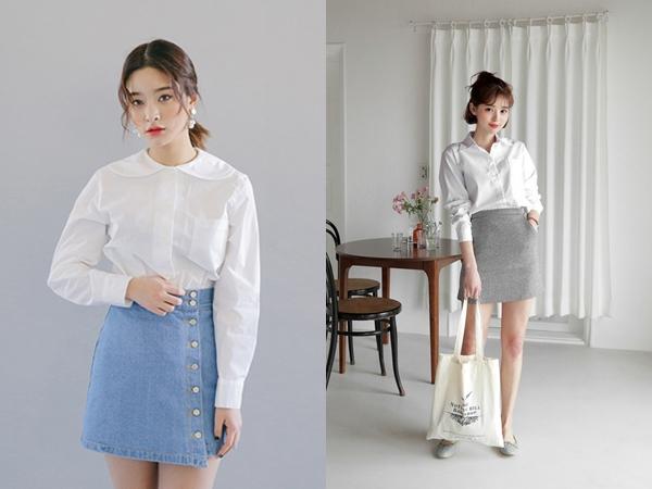 Để sở hữu vẻ ngoài tươi trẻ, ngọt ngào thì thay vì diện chân váy màu trung tính hay tối màu, bạn có thể mix áo sơ mi trắng với chân váy màu pastel