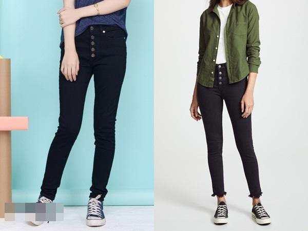 Quần jeans có nút cài để lộ sẽ giúp mọi người chú ý vào vòng eo của bạn hơn