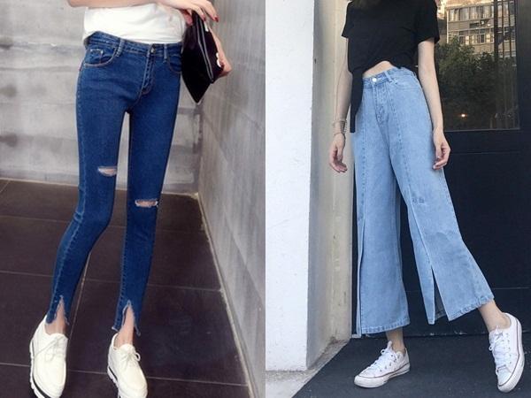Quần jeans vạt cắt mang lại sự trẻ trung và tạo cảm giác đôi chân dài hơn cho người mặc