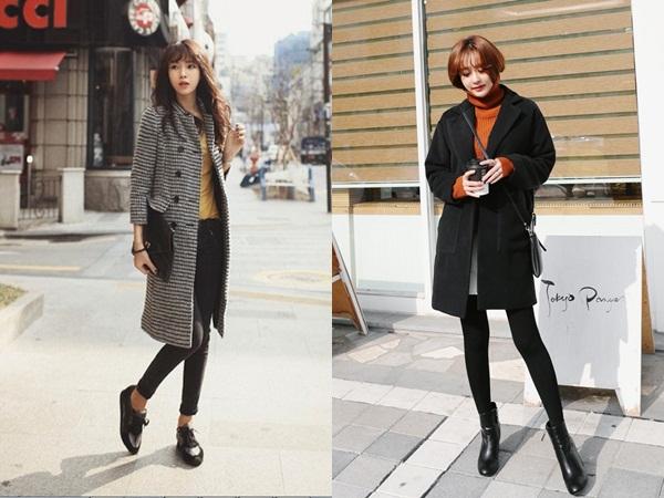 Áo khoác dạ và quần legging là cách phối đồ cơ bản nhất được các quý cô yêu thích thời trang áp dụng rất nhiều trong tiết trời mùa xuân này