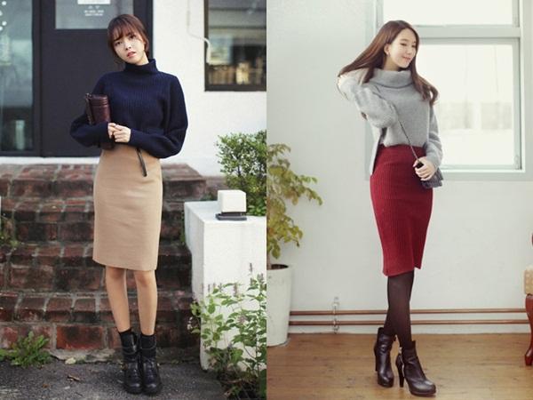 Áo len và chân váy dáng ôm sẽ giúp vẻ ngoài của chị em phụ nữ trở nên gợi cảm, cuốn hút hơn hẳn