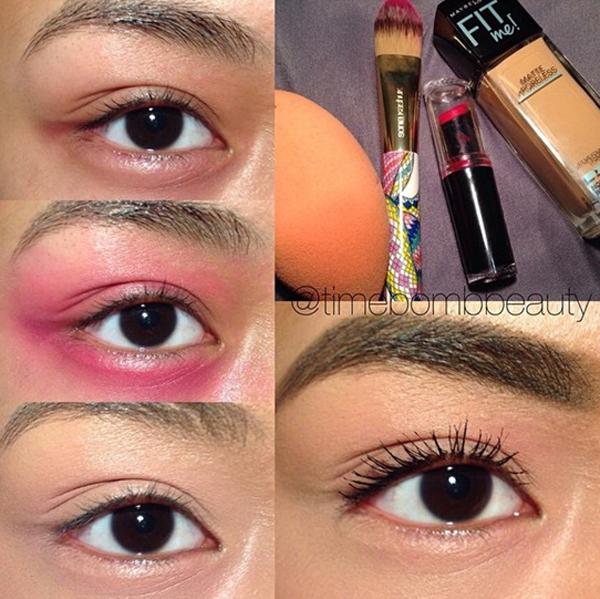 Nếu quầng thâm dưới mắt quá đậm, hãy dùng một chút son đỏ tán một lớp mỏng quanh mắt rồi lần lượt thoa kem che khuyết điểm và kem nền lên trên.