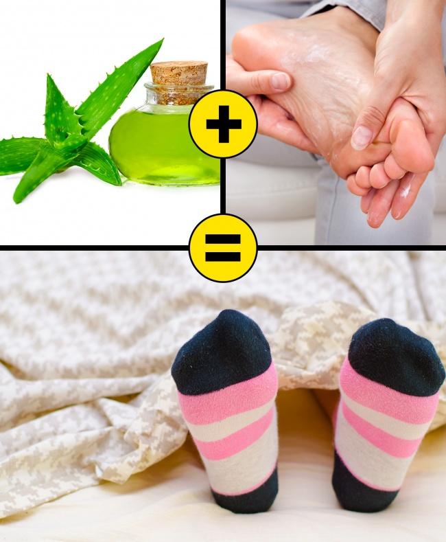Ngâm chân trong nước ấm, chờ khô, thoa một lớp gel nha đam và đi tất, để qua đêm. Các thành phần có trong nha đam có tác dụng kháng viêm, phục hồi da tổn thương. Nên thực hiện 4 - 5 lần mỗi tuần để đạt được hiệu quả.