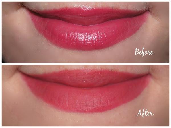 Để biến son môi bóng thành son lì, bạn chỉ cần tán một lớp mỏng kem che khuyết điểm lên môi trước rồi thoa son đè lên trên.