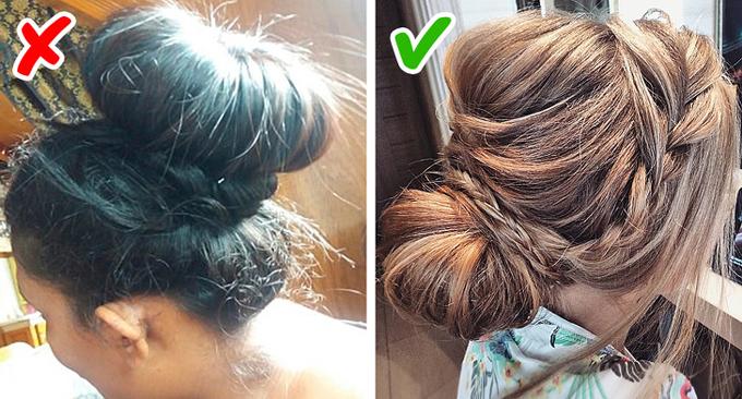 Kiểu búi tóc trông như chiếc bánh donut to sụ trên đầu chỉ phù hợp khi bạn ở nhà. Tóc búi thấp, đánh phồng chân tóc hoặc kết hợp cùng một vài lọn tóc tết sẽ là lựa chọn hợp thời hơn.