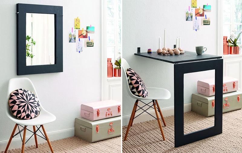 Nếu nhà ít người, mẫu bàn ăn liền tường sẽ được thiết kế nhỏ gọn, tối giản hơn. Chỉ cần kéo thanh gỗ xuống, dựng phần chân bàn, thêm chiếc ghế xinh xắn là đủ để tạo không gian ăn uống tiện lợi.