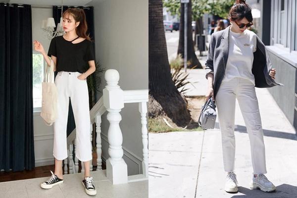 Với màu sắc trung tính nên chị em rất dễ phối quần jeans trắng cùng nhiều mẫu áo khác nhau mà không lo