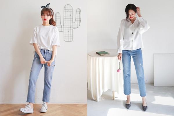 Quần jeans ống đứng mang đến ấn tượng thanh lịch, nhã nhặn và chuyên nghiệp hơn cho phái nữ
