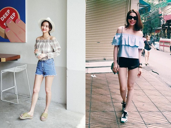 Một cách mix đồ khác cũng được nhiều quý cô lựa chọn cho dịp nghỉ lễ này là mix quần jean short với áo trễ vai