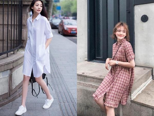Váy sơ mi với thiết kế rộng rãi, thoải mái nên cực thân thiện với mọi vóc dáng