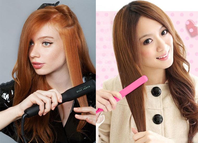 Để tăng hiệu quả duỗi tóc, bạn hãy dùng tay giữ thật căng lọn tóc rồi dùng máy là từng lọc tóc nhỏ