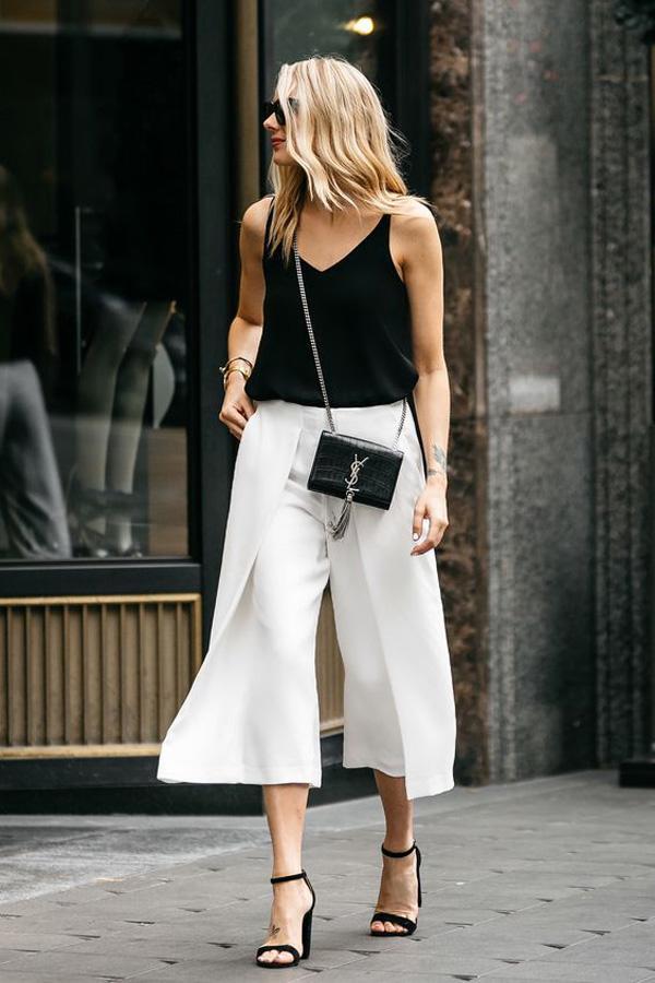 Áo hai dây + quần culottes là combo