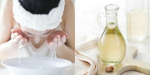 Rửa mặt với giấm trắng pha loãng sẽ giúp bạn hồi sinh làn da sạm, xỉn màu của mình trở về trạng thái trắng mịn, sạch mụn hoàn hảo