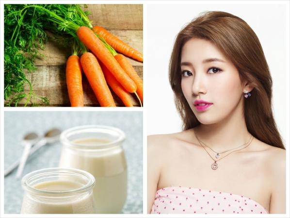 Chị em phụ nữ có thể dùng hỗn hợp sữa chua với nước ép cà rốt để dưỡng ẩm cho đôi môi nứt nẻ, thô ráp vào mùa đông