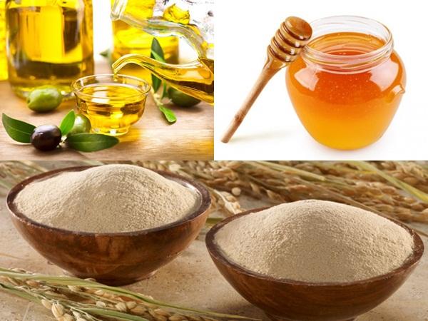 Cám gạo, mật ong và dầu oliu có khả năng chống lại các vi khuẩn gây mụn và lấy đi những tạp chất trong lỗ chân lông cực nhanh
