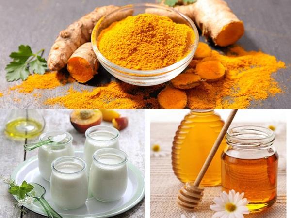 Bột nghệ, sữa chua và mật ong có tác dụng chống oxy hóa cực mạnh, giúp chị em trị mụn, làm mờ vết thâm và làm trắng da hiệu quả
