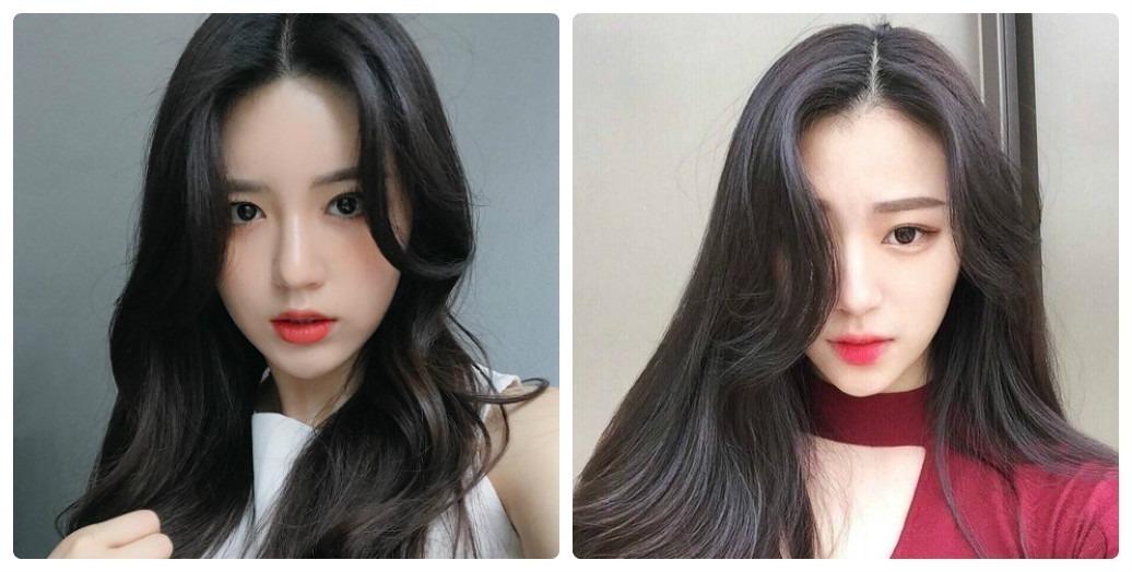 Tóc đen kết hợp cùng mái dài giúp bạn tôn lên những đường nét xinh đẹp trên khuôn mặt dài