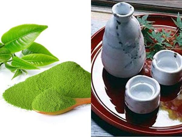 Bột trà xanh và rượu sa kê là hai nguyên liệu làm đẹp rất được phụ nữ Nhật Bản ưa chuộng