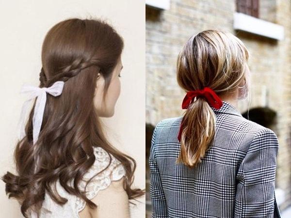 Sự xuất hiện đúng lúc, đúng chỗ của một dải ruy băng mảnh sẽ khiến mái tóc của bạntrở nên bay bổng, xinh đẹp hơn bội phần