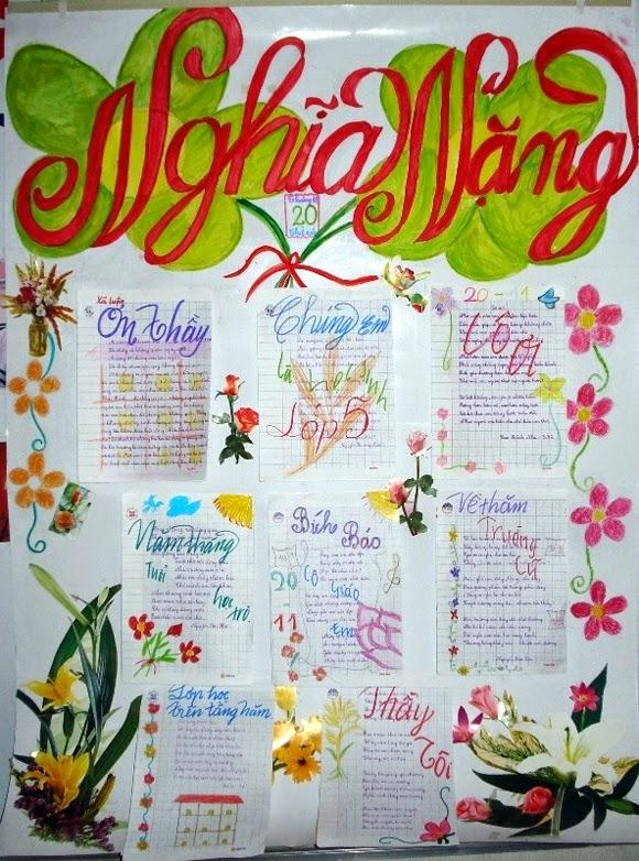 Bạn có thể viết hoặc dán các bài thơ ý nghĩa về thầy cô lên báo tường