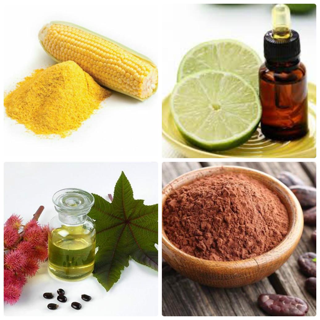 Không chỉ giúp làm sạch tóc mà bột ngô, tinh dầu chanh, dầu thầu dầu và bột cacao còn dưỡng tóc mềm mượt hơn