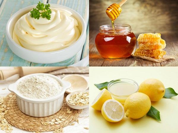 Mayonnaise, mật ong, bột yến mạch và nước cốt chanh là những nguyên liệu mặt nạ cực tốt để dưỡng trắng da