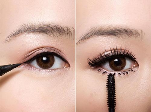 Nếu sở hữu đôi mắt mí lót thì chị emcần chọn cách kẻ mắt mỏng cho hàng mí trên và dùng mascara cho cả hai mí