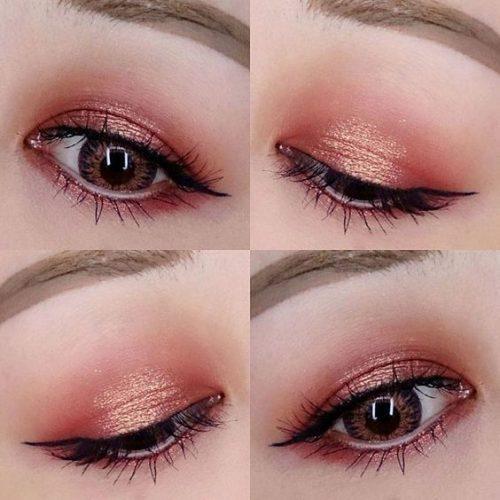 Ngoài ra, bạn cũng có thể trang điểm theo kiểu mắt khói hoặc tác đều màu lên toàn bộ mí và hốc mắt để đôi mắt to tròn hơn