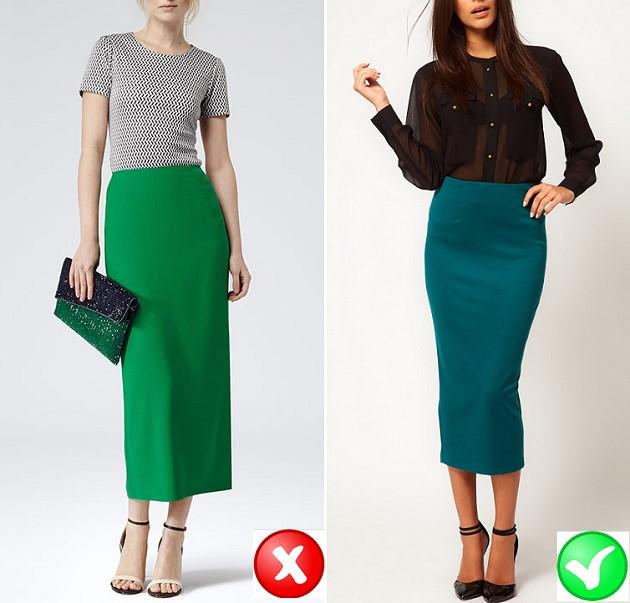 Diện chân váy quá dài: Những chiếc váy dài hoặc quá ngắn không làm bạn trông trẻ, tươi tắn hoặc sexy. Mẹo mặc đẹp là bạn nên chọn một chiếc váy dài đến đầu gối và quá gối một chút.