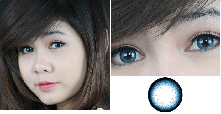 Kính áp tròng màu xanh biển giúp bạn có đôi mắt cực kì cá tính, mới lạ