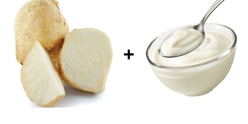 Củ đậu và sữa chua sẽ làm tăng hiệu quả dưỡng trắng và giúp da trở nên khỏe khoắn, tươi sáng hơn