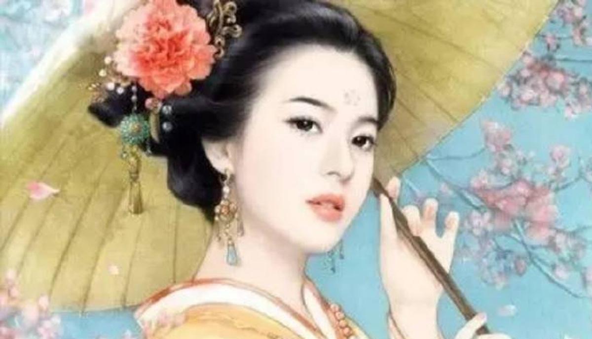 Chân dungDương Quý Phi được khắc họa với nét đẹp tuyệt sắc, hoa hờn nguyệt thẹn
