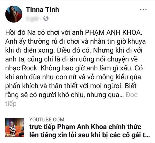 Giữa phát ngôn tranh cãi của Phạm Anh Khoa, Tina Tình lên tiếng: 'Anh ấy chỉ là quậy phá, không có ý xấu' - Ảnh 1