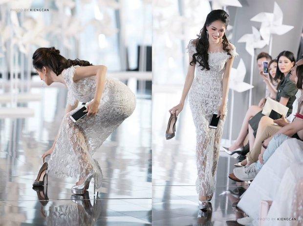 Khoảnh khắc đẹp: Hoa hậu Hương Giang rời ghế khách mời, cúi nhặt giày giúp người mẫu Minh Tú - Ảnh 1