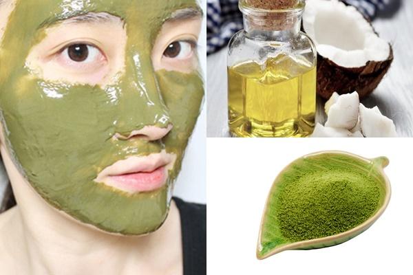 Kết hợp trà xanh và dầu dừa để làm mặt nạ trắng da