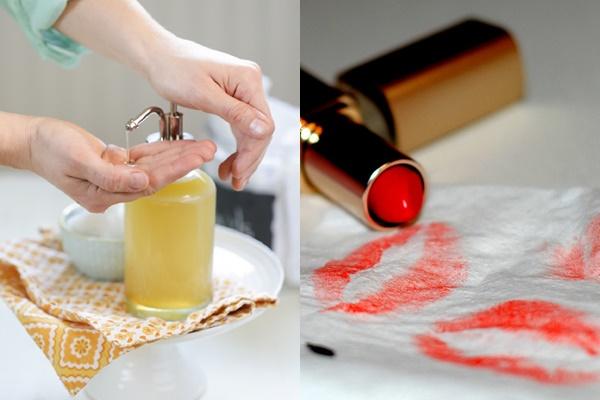 Cách giặt sạch vết son môi trên quần áo với sữa rửa mặt