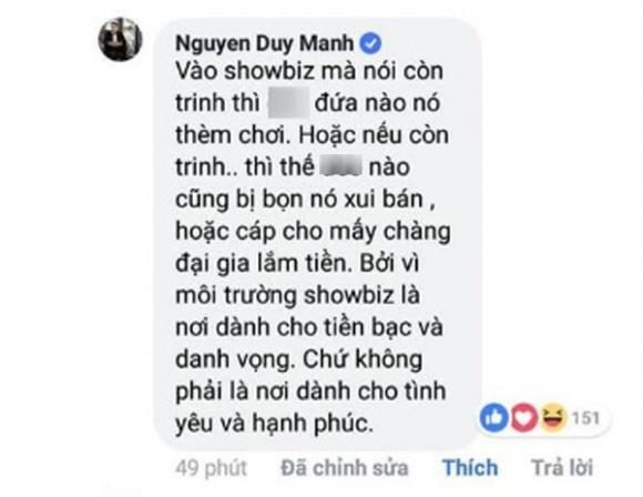 Sau Trang Trần, Duy Mạnh phát ngôn: